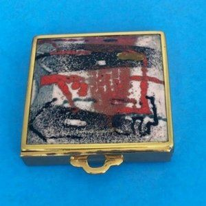 1930's Red Impressionistic Swirl Enamel Compact
